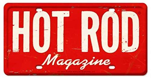 (Losea HOT Rod Magazine License Plate Metal Tin Sign Wall Art Decor for Living Room Vintage Art Coffee Bar Signs Home Decor Gifts Decoration 12 x 6 Inches)