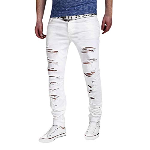Alimao Autumn Pants Mens Stretchy Ripped Skinny Biker Jeans Destroyed Taped Slim Fit Denim Trousers by Alimao (Image #3)