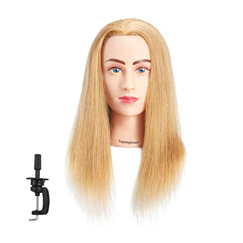 Traininghead 26-28'' Mannequin Head 100% Human Hair Training Practice Head Professional Styling Manikin Doll Heads For Cosmetology Blond (6RA1908W2720H) (16'')