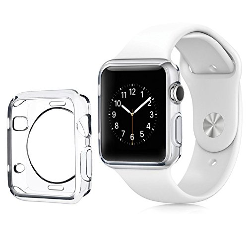 Apple Watch Color TPU W/ Built in Corner & Edge Protection SERIES 1, 2 & 3 LTE / GPS Bumper Smooth Slim Skin [iWatch Gel Cover] Protective Case Shockproof Clear Protection Accessories (1x Clear, 42mm)