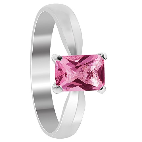 Gem Avenue 925 Sterling Silver 4 Prong Emerald Cut Pink ice Cubic Zirconia Solitaire (Style Pink Ice Ring)