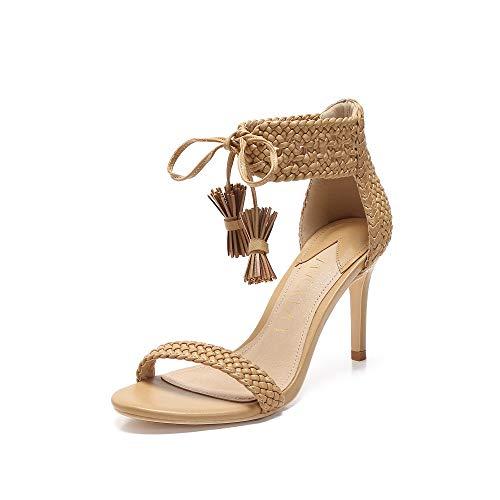 MACKIN J 114-2 Women's Single Band Open Toe Stiletto High Heel Pump Dress Wedding Party Shoes Hand Woven Plait Ankle Strap Heeled Sandals for Women (10, Nude)