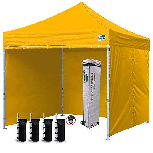 Eurmax 10'x10' Ez Pop-up Canopy Tent Commercial Instant Canopies with 4 Removable Zipper End Side Walls and Roller Bag, Bonus 4 SandBags(Gold) (Gold Canopy Tent)