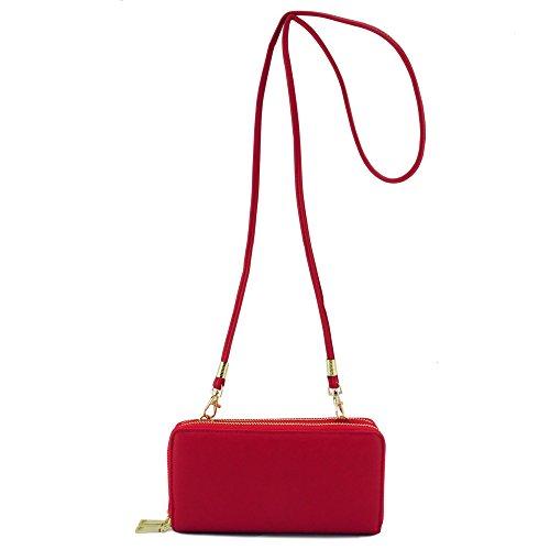 Double Red Organizer Around with Strap Wallet Zip purpose Crossbody Multi Purse twxqv41nwO