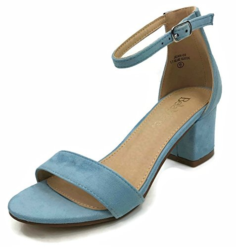 ed Chunky Block Heel Dress Sandal Over Toe & Ankle Wrap Strap, Lt. Blue, 9 ()