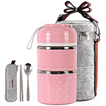 Cute Lunch Box Insulated Lunch Bag Bento Box Food Container Storage Boxes With Cutlery For Kids...