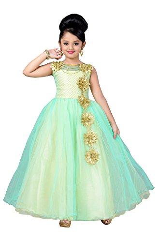 Aarika Girl's Self Design Net Fabric Birthday Special Ball Gown (G-2826-GREEN_28_7-8 Years) by Aarika