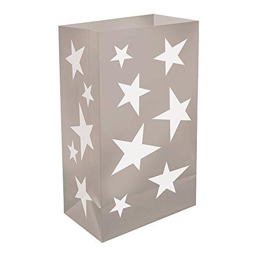 Lumabase 51112 Silver Stars Plastic Luminary Bags ()