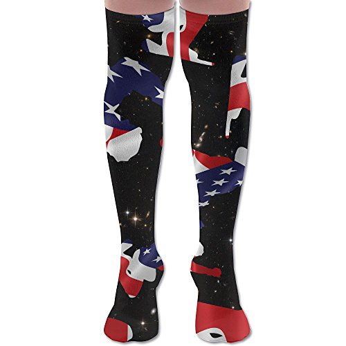 Nordic Two American Flag Women Sexy Uniquely Over Knee Socks 60CM Cotton Socks Comfortable Plain Stretch Over Knee - Nordic Uniquely