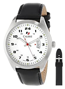Calibre Men's SC-4T1-04-001SL Trooper Stainless Steel Interchangeable Black Rubber Leather Straps Watch Set by Calibre