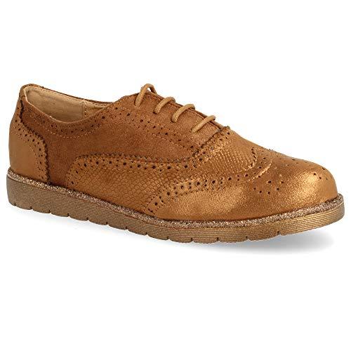 Goma Cordones con con con Oxford de Zapato Efecto Piso Metalizado Tipo Redondos 58wnO