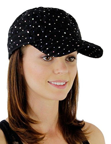 Sequin Baseball Cap - Glitzy Game Sequin Trim Baseball Cap for Ladies, Black