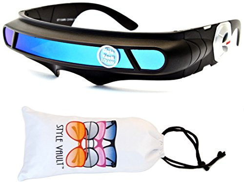 V140-vp Robocop Robot Censored Party Sunglasses (B3293F Black-Blue Mirror, ()