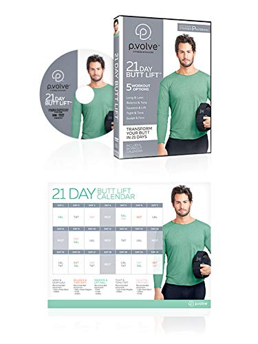 P.volve 21-Day Butt Lift DVD + Digital Copy - Butt Lifting Fitness DVD with Digital Copy - Home Workout Program Includes 21-Day Workout Calendar Designed to Lift, Sculpt, Tone Butts and Glutes
