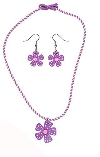 Bisutería infantil de plástico, multicolor–Collar y Pendientes–flor–púrpura