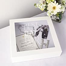 Personalized Best Day Ever Wedding Wishes Keepsake Shadow Box with Mini LOVE Favor Frame (WHITE)