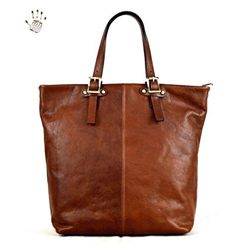 Dream Leather Bags Made in Italy Piel Verdadera Bolso Shopper Para Mujer En Piel Verdadera Con Bolsillos Color Marrón - Peleteria Echa En Italia - Linea Prestige