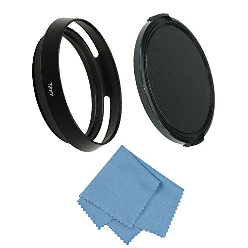 SIOTI Camera Vented Metal Lens Hood with Cleaning Cloth and Lens Cap for Leica/Fuji/Nikon/Canon/Samsung Standard Thread Lens (72mm, Standard Vented)