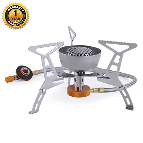 OMAGAX Ultralight Portable Camping Stoves Foldable Windproof Outdoor Backpacking Stove Small Camping Gas Stove Propane Butane Burner Mini Collapsible Camping Cookware Cookout Stove for Picnic Hiking