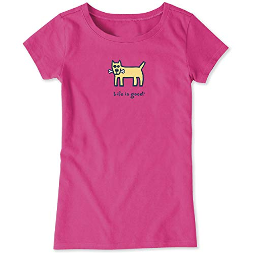 - Life is Good Girls Vintage Graphic T-Shirts Collection,Dog and Bone,Fiesta Pink,X-Large