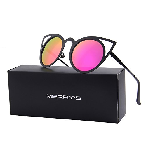 MERRY'S Cat Eye Sunglasses Round Metal Cut-Out Flash Mirror Lens Metal Frame Sun glasses S8064 (Red, - Sunglasses Newest