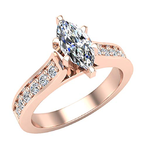 Marquise Brilliant Cut Accented Diamond Engagement Ring 1 Carat Total Weight 0.65 ct Center 14K Rose Gold (Ring Size 9) -