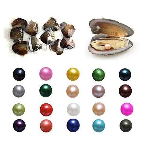 50PC Oysters with Pearls Inside, Freshwater Cultured Love Wish Pearl Oyster with Mixed Colors (7-8mm) by COOCLE (Image #9)