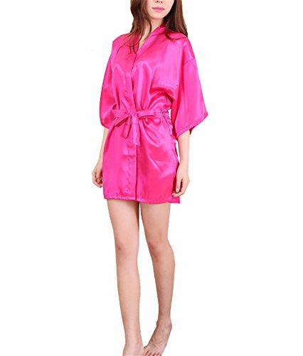 Yall Señora Imitación Seda Pijama Batas MRed