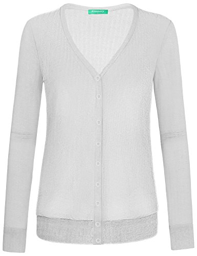 Kimmery White Cardigans for Women, Button Warm Ladies Sweaters Fashion 2018 Long Sleeves V Neck Tops Single Breasted Knitwear Plain Loose Casual Spring Shirts Easy to Wear XX Large ()