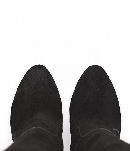 PoiLei Olivia - Damen-Schuhe / eleganter High-Heel Langschaft-Stiefel aus Velours-Leder - spitz-zulaufend, mit Stiletto-Absatz und schöner Zier-Naht - schwarz