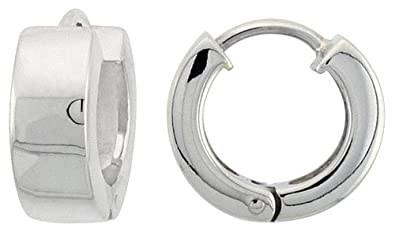 11e33ec1e Image Unavailable. Image not available for. Color: Sterling Silver Huggie  Earrings Round Shape ...