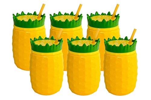 6 Pack Tiki 16oz Pineapple Tropical Travel Tumblers Plastic Drinking Hawaiian Party Cups & Straws