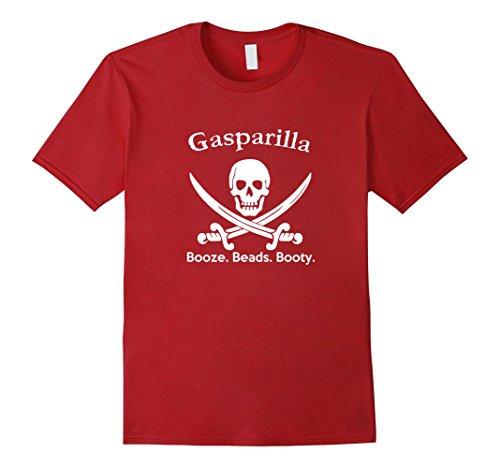 Mens Gasparilla Booze Beads Booty T Shirt Large Cranberry