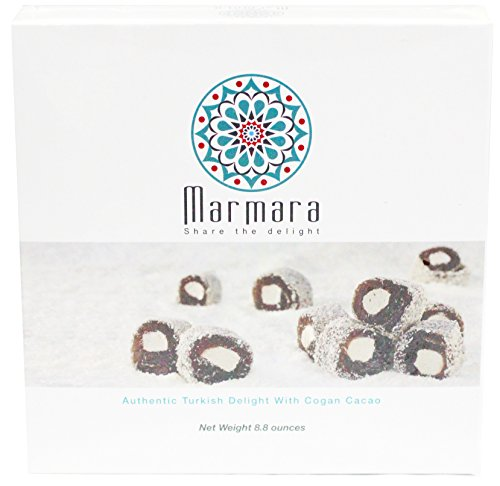 Marmara Authentic Turkish Delight Lokum COGAN CACAO Candy Sweet Confectionery Gourmet Gift Box Candy Dessert 8.8 Oz(Large)