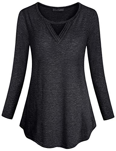 Cestyle Blouses for Women Fashion 2018, Full Sleeve Shirts Ladies Cut V Neck Flare Scallop Hem Tunics for Leggings Feminine Flattering Sexy Tops Party Wear Black X-Large