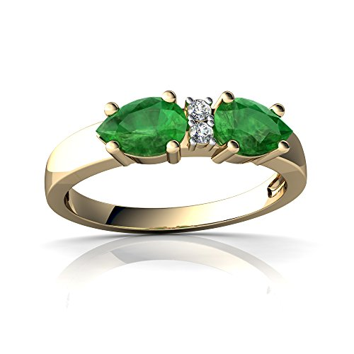 6x4 14kt Emerald Gold (14kt Yellow Gold Emerald and Diamond 6x4mm Pear Pear Bowtie Ring - Size 6)