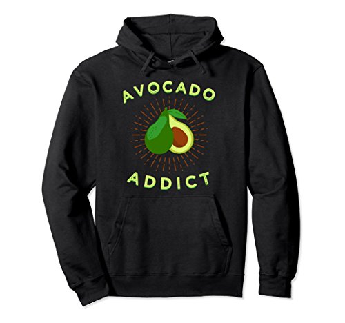 Unisex Fun Avocado Addict Hoodie, Healthy Guacamole Hooded Pullover Large Black (Addict Hoodie)