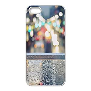 iPhone 5,5S Case,Rainy Street Window Bokeh Hard Shell Back Case for White iPhone 5,5S Okaycosama331106