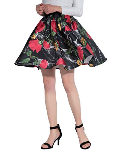 Satin Vintage Skirt - DYS Women's Stretchy Waist A-line Floral Printed Flared Casual Mini Skirt Vintage F-05 L/XL