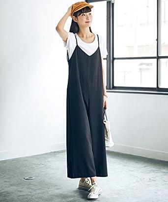 cd4455e44351d Amazon   パンツ [nissen(ニッセン)] トールサイズ サロペットワイドパンツ 黒 5LTT   パンツ 通販