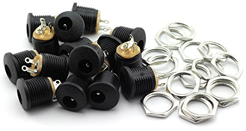 Price comparison product image TOTOT 15 Pack 5.5mm x 2.1mm 3 Pin Female DC Power Jack Panel Mount Screw Nut Kit DC Socket Electrical Plug