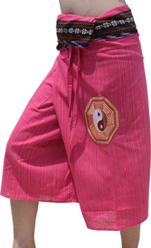 Raan Pah Muang RaanPahMuang Embroidered Ying Yang Striped Cotton 3/4 Leg Fishermans Pants, Medium, Rose Pink