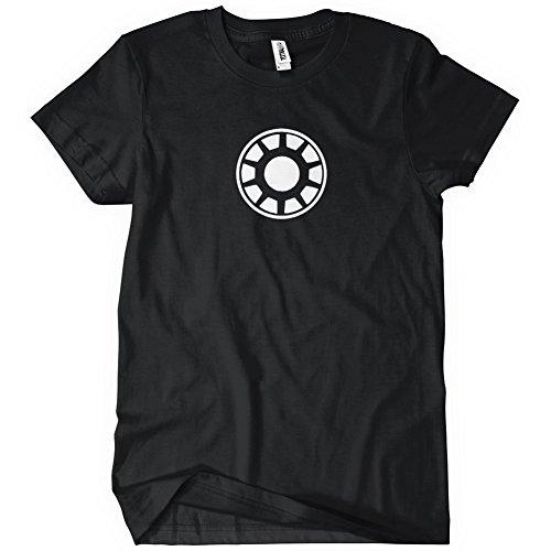 Arc Reactor Mens Glow in the Dark T-Shirt Tee Iron Comic Man MCU Suit Black (Iron Arc Reactor compare prices)