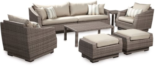 RST Brands 8-Piece Cannes Sofa and Club Chair Deep Seating Group Patio Furniture Set, Slate Gray