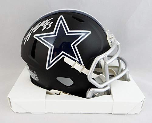 Leighton Vander Esch Autographed Dallas Cowboys Flat Black Mini Helmet- Beckett W Auth Silver ()