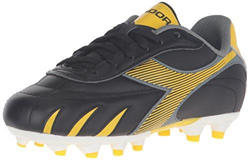 Diadora Boys' Pilone L MD PU Jr Soccer Shoe, Black/Yellow/Grey, 4.5 M US Big Kid