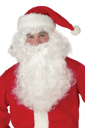 [California Costumes Men's Santa Claus Beard and Wig Set, White, One Size] (Childrens Santas Helper Costume)