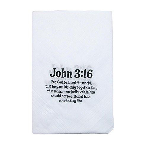 Umo Lorenzo Cotton John 3:16 Embroidered Handkerchief Set (Pack of 6), White by Umo Lorenzo