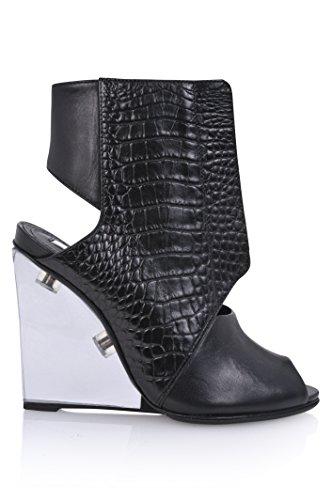Schutz Women's Cyssa Unique Croc Peep toe Glass heel Wedge Cutout Bootie (5) by SCHUTZ