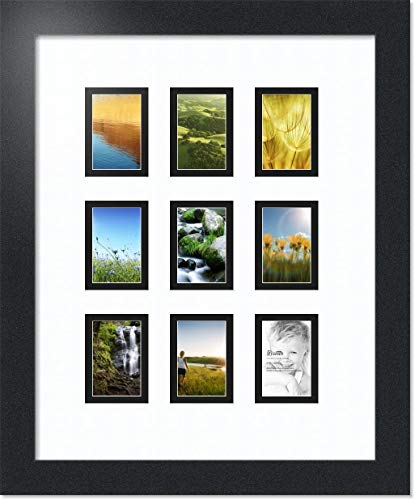 ArtToFrames Collage Photo Frame Double Mat with 9 - 2x3 Openings and Satin Black Frame 2 Picture Photo Cards
